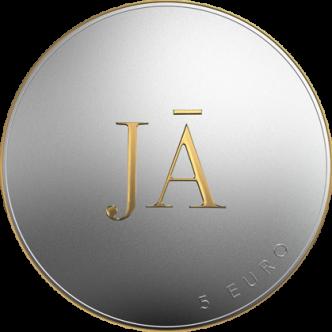 Latvija 5 euro Jā vai Jā, 2021. gads. Monētas aizmugure (reverss).