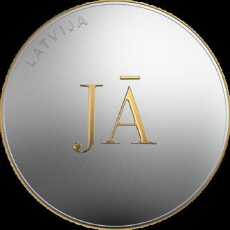 Latvija 5 euro Jā vai Jā, 2021. gads. Monētas priekšpuse (averss).